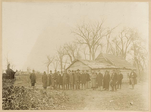 The home belonging to Bagone-giizhig became part of the battleground for the Battle of Sugar Point near Leech Lake in 1898. Photo courtesy of the Minnesota Historical Society