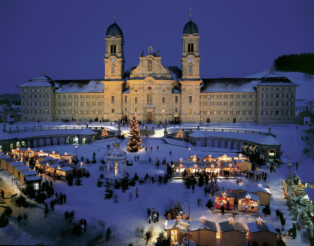 Christmas market in front of the Benedictine monastery in Einsiedeln